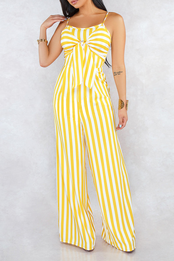 Shyfull Stylish Spaghetti Straps Striped Jumpsuit