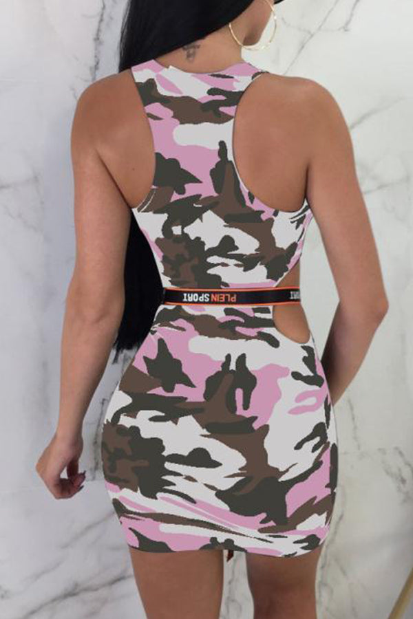 Shyfull Casual Camouflage Printed Mini Dress