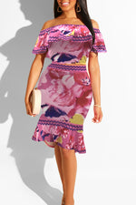 Shyfull Stylish Floral Printed Two-piece Skirt Set