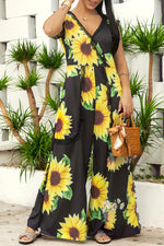 Shyfull Stylish Sunflower Printed Jumpsuit