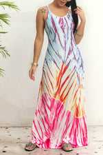 Shyfull Casual U Neck Printed Floor Length Dress