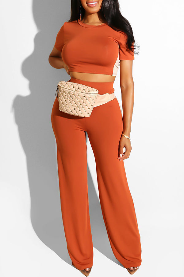 Shyfull Leisure O Neck Two-piece Pants Set
