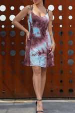 Shyfull Casual V Neck Tie-dye Patchwork Mini Dress