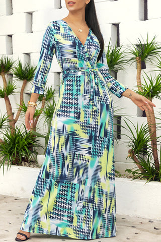 Shyfull Printed Lace-up Floor Length Dress