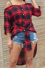 Shyfull Leisure Plaid Side Split Shirts