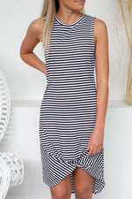 Shyfull Leisure O Neck Striped Asymmetrical Knee Length Dress