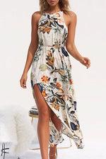 Shyfull Halter Neck Side Split Apricot Dress