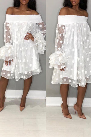 Shyfull Off The Shoulder Horn Sleeve Knee Length Dress