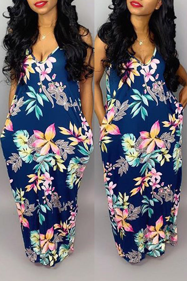 Shyfull Sweet Backless  Floor Length Printed Dress
