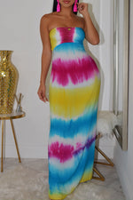 Shyfull Sexy Printed Hollow-out Floor Length Dress