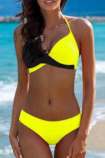 Shyfull Halter Neck Patchwork Yellow Two-piece Swimwear
