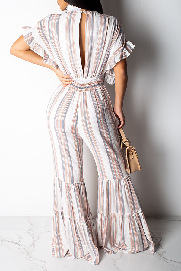 Shyfull Sweet Flounce Design Striped Jumpsuit