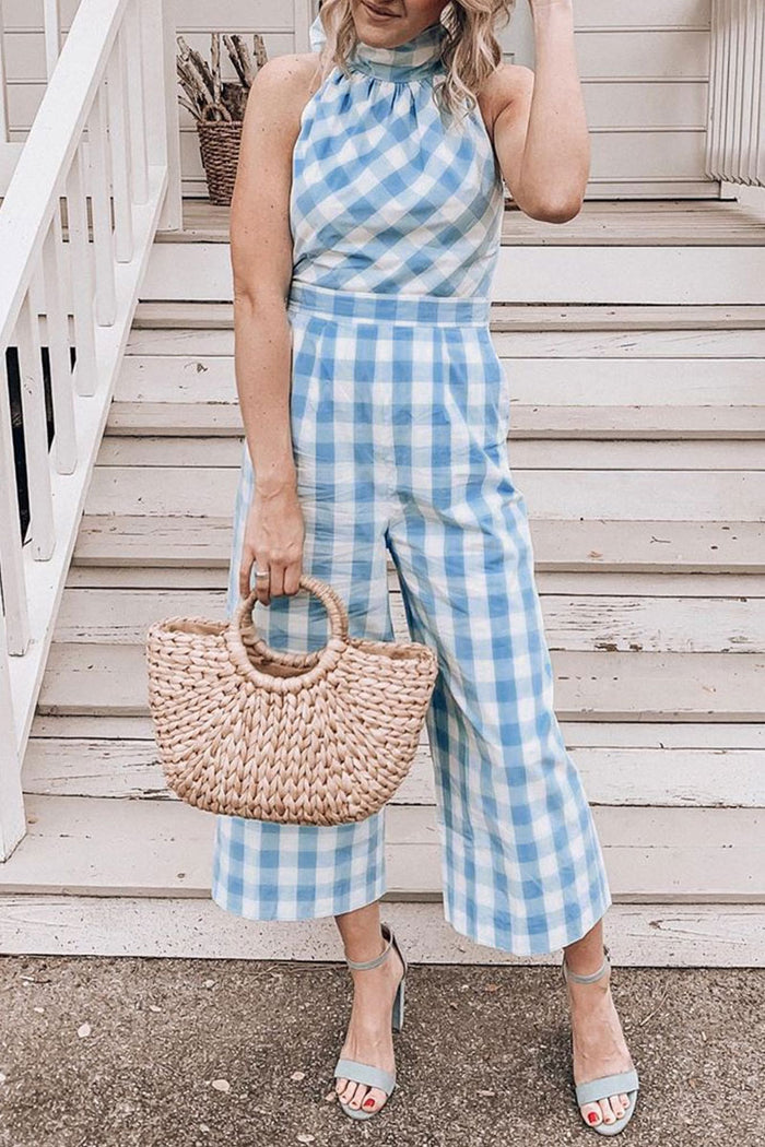 Shyfull Halter Neck Plaid  Jumpsuit