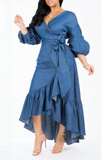 Shyfull Trendy Asymmetrical  Dark Blue Denim Mid Calf  Dress