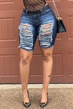 Shyfull Leisure Broken Holes  Denim Shorts