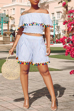 Shyfull Stylish Off The Shoulder Tassel Design  Two-piece Shorts Set