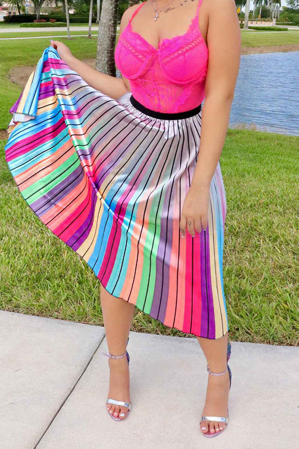 Shyfull Sweet Printed Multicolor Mid Calf  Skirt