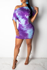Shyfull Leisure Off The Shoulder Tie-dye  Mini Dress