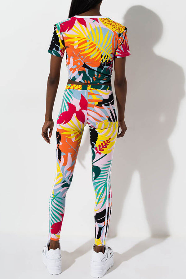 Shyfull Casual O Neck Printed Multicolor Two-piece Pants Set
