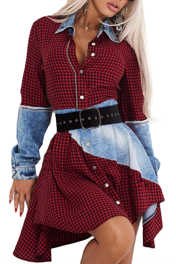 Shyfull Leisure Plaid Patchwork Asymmetrical Mini Dress