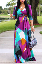Shyfull Sweet V Neck Color Block Patchwork Floor Length Dress