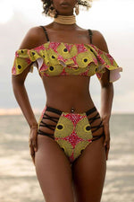 Shyfull Printed Ruffle Hollow-out Swimwear