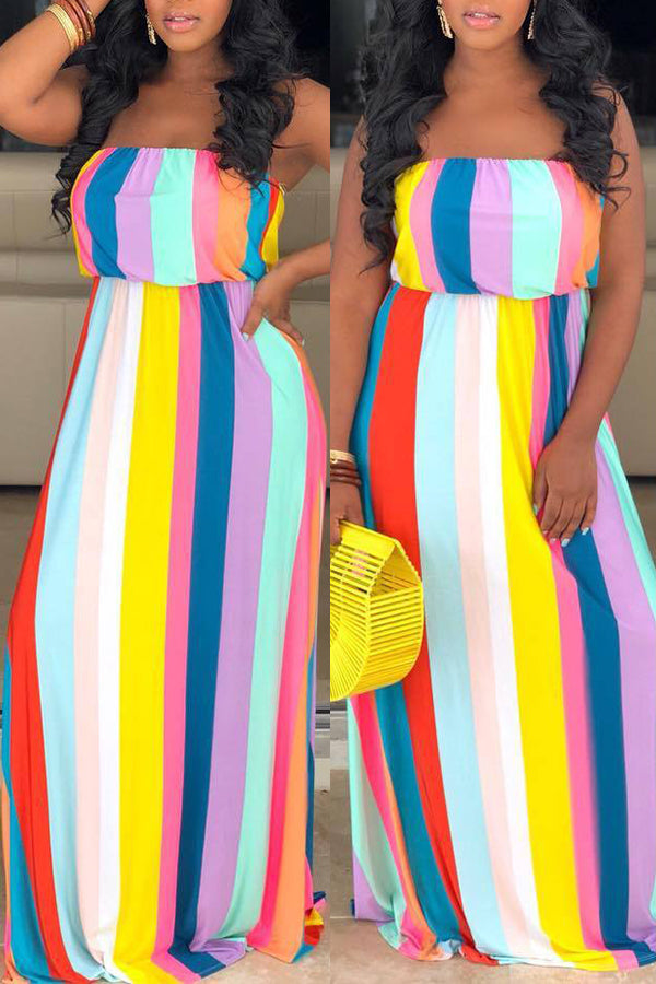 Shyfull Casual Off The Shoulder Striped Yellow Floor Length Dress