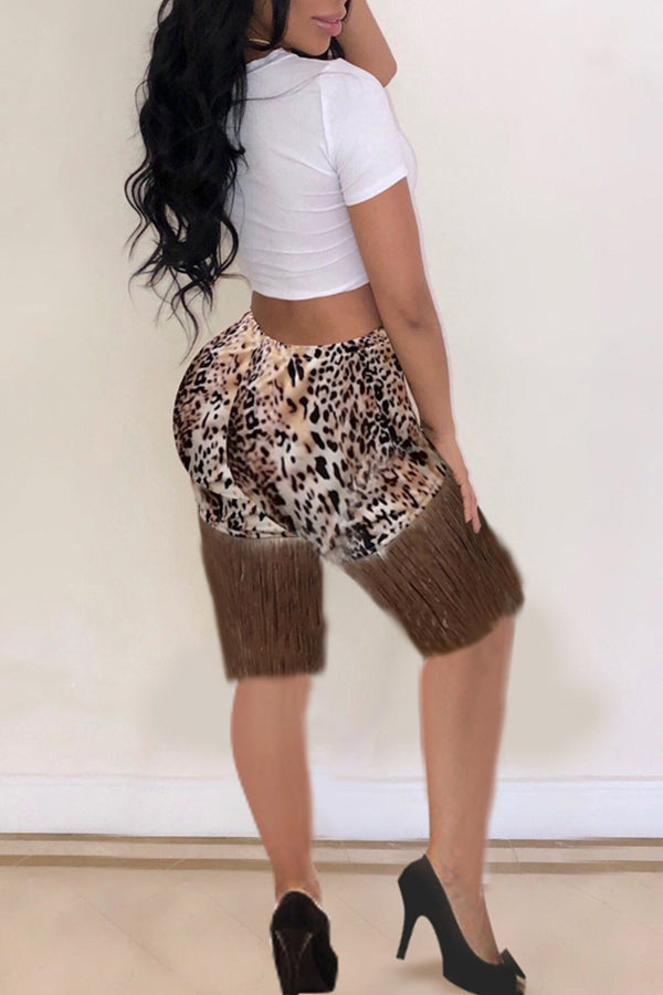 Shyfull Casual Leopard Printed White Two-piece Shorts Set