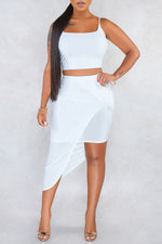 Shyfull Casual Asymmetrical  Two-piece Skirt Set
