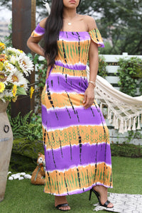 Shyfull Bohemian Off The Shoulder Printed Purple Floor Length Dress