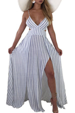 Shyfull Sexy V Neck Striped Hollow-out Blue Floor Length Dress