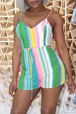 Shyfull Casual Spaghetti Straps Striped Green Romper