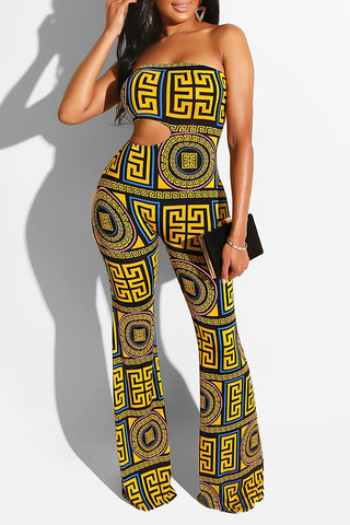 Shyfull Sexy Off The Shoulder Printed Hollow-out  Jumpsuit