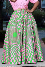 Shyfull Sweet Printed Green  Skirt