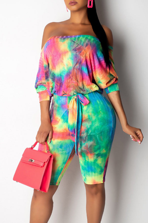 Shyfull Casual Off The Shoulder Tie-dye Printed  Romper