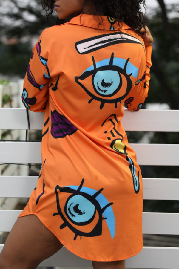 Shyfull Casual Eyes Printed Croci Mini Dress