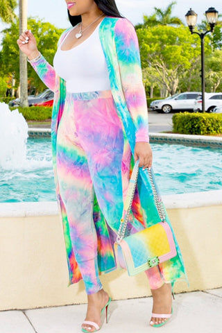 Shyfull Casual Tie-dye Multicolor Two-piece Pants Set