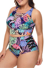 Shyfull Printed Hollow-out Plus Size Two-piece Swimwear