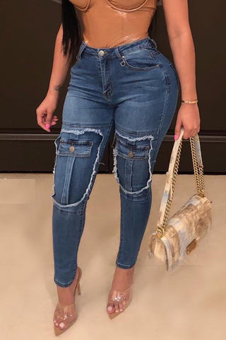 Shyfull Casual Patchwork Blue Jeans