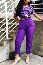 Shyfull Casual O Neck Camouflage Printed Purple Two-piece Pants Set