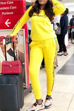Shyfull Casual O Neck Letter Printed Yellow Two-piece Pants Set