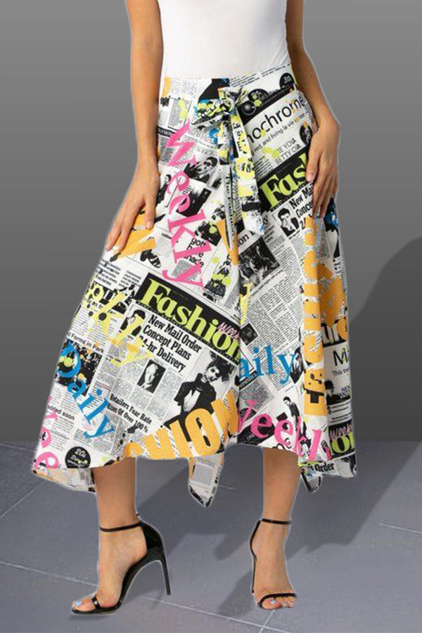 Shyfull Stylish Letter Printed Asymmetrical  Skirt