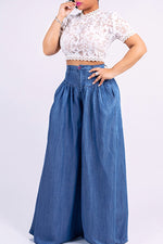 Shyfull Stylish High Waist Drape Design Jeans