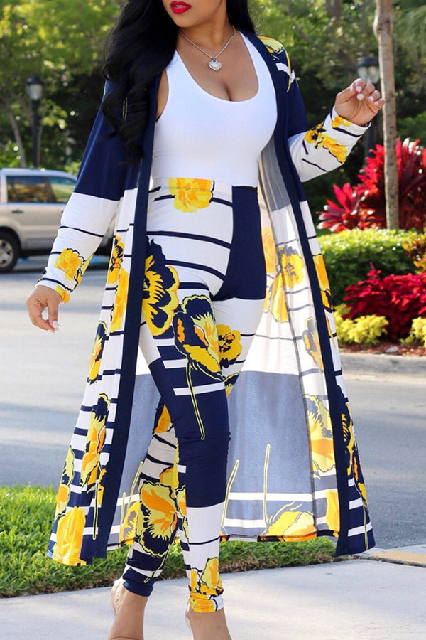 Shyfull Stylish High Waist Printed Deep Blue Two-piece Pants Set