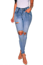 Shyfull Stylish Broken Holes Deep Blue Jeans