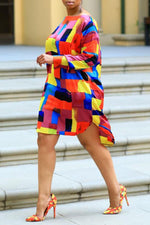 Shyfull Casual Color Block Patchwork Multicolor Knee Length Dress