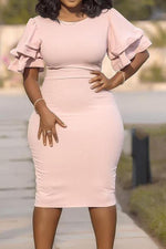 Shyfull Casual O Neck Ruffle Pink Knee Length Plus Size Dress