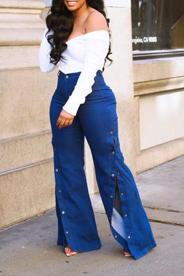 Shyfull Stylish High Waist Side Split Blue Jeans