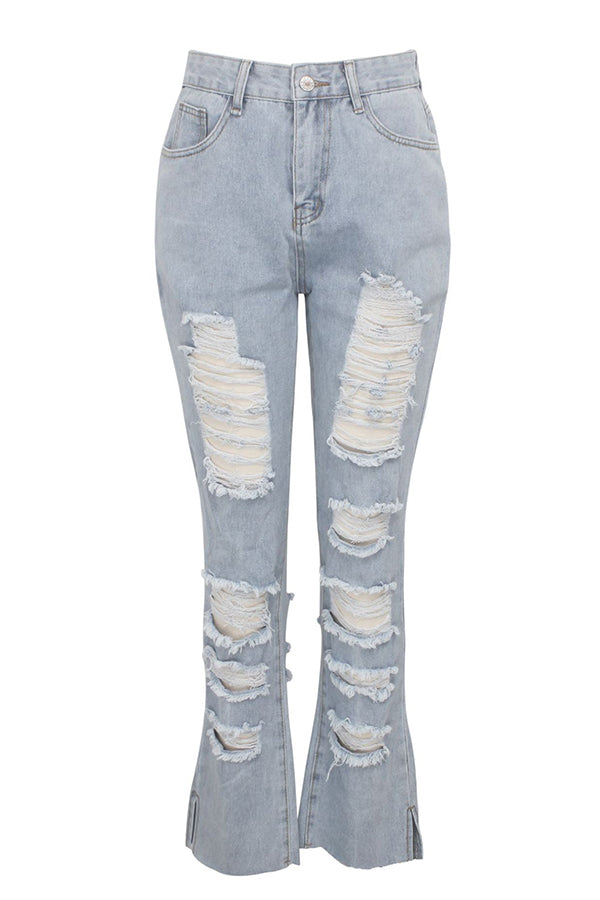 Shyfull Casual Broken Holes Baby Blue Jeans