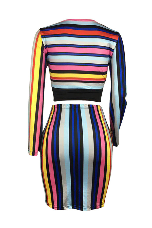 Shyfull Casual O Neck Striped Multicolor Two-piece Skirt Set